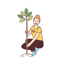 Young happy female volunteer or ecologist planting vector