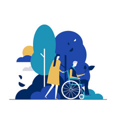 young woman with disabled man in park flat vector image