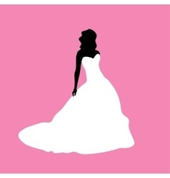 Female silhouette in a white dress vector image