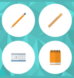 Flat icon stationery set of straightedge vector