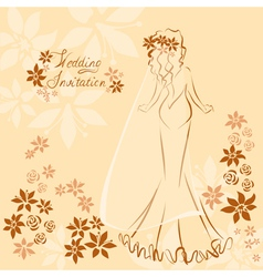 Wedding invitation card with elegant beautiful vector image