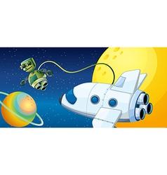 A robot near a planet with an orbit vector image vector image