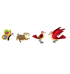 bird hamster and butterfly isolated set vector image