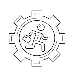 businessman running in the gear line icon vector image