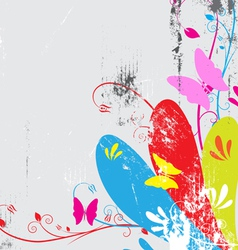 butterfly and floral with grunge background vector image