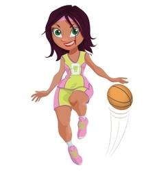 Cartoon girl basketball player vector