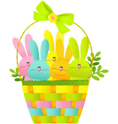 Easter basket with bunnies vector image vector image