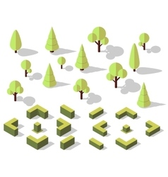 isometric trees elements vector image vector image