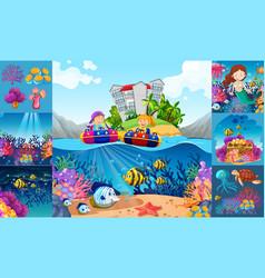 ocean scenes with children and sea animals vector image vector image