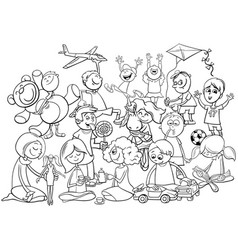 playful children group coloring book vector image
