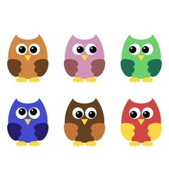 Set of six little owlets vector image vector image