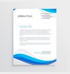 Business blue wave style letterhead template vector