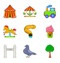 cirque icons set cartoon style vector image vector image