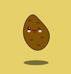 cute vegetable potato cartoon character flat vector image