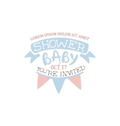 Decorated Baby Shower Invitation Design Template vector image