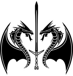 flying dragons and sword vector image vector image