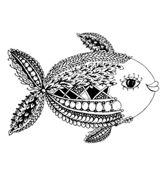 Ornate fish zentangle style for your design vector image