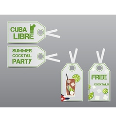 Summer cocktail party stickers and labels layout vector image vector image
