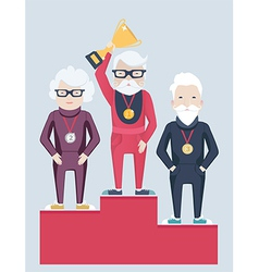 Three elderly people on a winners podium vector image vector image