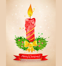 vintage postcard with christmas candle vector image vector image