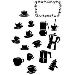 coffee elements vector image vector image