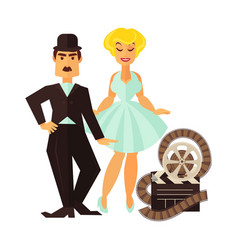 retro cinema actor and movie actress flat vector image vector image