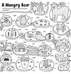 A hungry bear black and white labyrinth game for vector