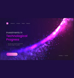 Abstract landing page template with a shiny purple vector
