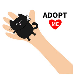 Adopt me hand arm holding black cat animal pet vector