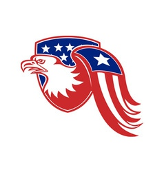 American Eagle Stars and Stripes Flag Shield Retro vector