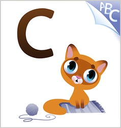 Animal alphabet for the kids C for the Cat vector image
