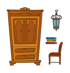 Antique furniture set - closet lamp book chairs vector