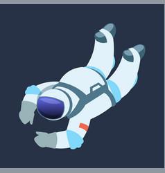 Astronaut cartoon cosmonaut drifts in zero vector