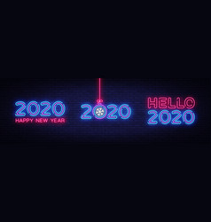 big set 2020 happy new year neon text 2020 hello vector image