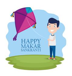 Boy with kite to celebrate makar sankranti vector