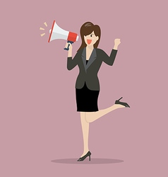 Business woman with a megaphone vector
