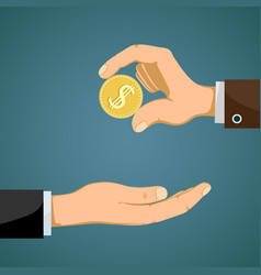 businessman gives to man a gold dollar coin vector image