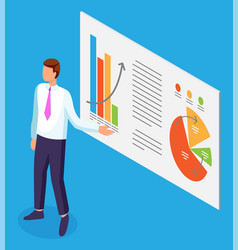 businessman points on presentation data report vector image