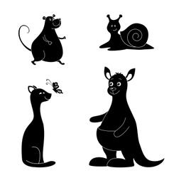 Cartoon animals silhouette vector image