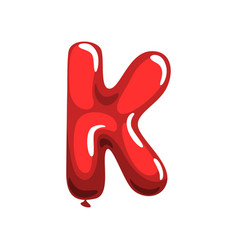 Cartoon capital letter k in form of bright red air vector