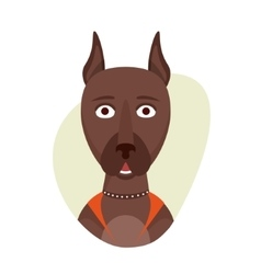 Cartoon cute doberman dog Isolated objects on vector