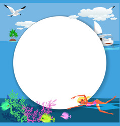 cartoon pretty girl swimming in blue ocean vector image