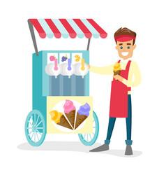 caucasian white street seller selling ice cream vector image
