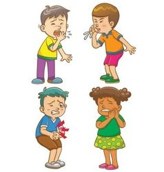 Children get sick cartoon character vector