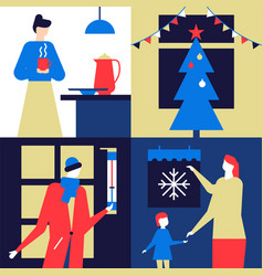 christmas time - flat design style colorful vector image