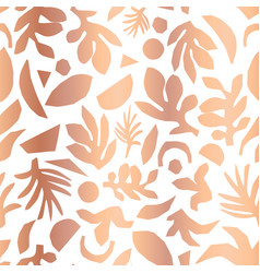 copper foil abstract floral plant shapes seamless vector image