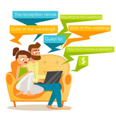 couple sitting together with laptop vector image