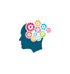 creative mind brain and colorful gears vector image