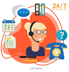 Customer call center concept banner square trendy vector