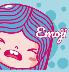 Cute girl emoji vector